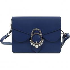 """Skórzana torebka """"Gina"""" w kolorze niebieskim - 21 x 16 x 6,5 cm. Niebieskie torebki klasyczne damskie Spécial maroquinerie, z aplikacjami, z materiału, z aplikacjami. W wyprzedaży za 218,95 zł."""