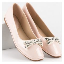 Baleriny damskie: Pudrowe lakierowane balerinki IDEAL SHOES różowe