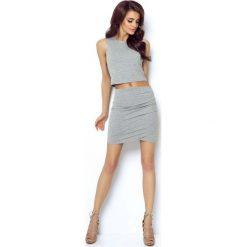 Odzież damska: Szara Mini Spódnica Kopertowa