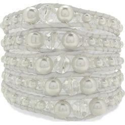 Bransoletki damskie: Skórzana bransoletka w kolorze białym z perłami syntetycznymi