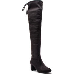 Muszkieterki R.POLAŃSKI - 0802 Czarny. Czarne buty zimowe damskie R.Polański, z materiału, za kolano, na wysokim obcasie, na obcasie. W wyprzedaży za 299,00 zł.