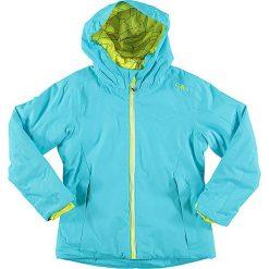 Kurtka narciarska w kolorze turkusowo-żółtym. Niebieskie kurtki dziewczęce marki CMP Kids, z materiału. W wyprzedaży za 149,95 zł.