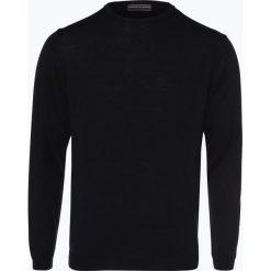 Finshley & Harding - Sweter męski z dodatkiem wełny merino, niebieski. Czarne swetry klasyczne męskie marki Finshley & Harding, w kratkę. Za 179,95 zł.