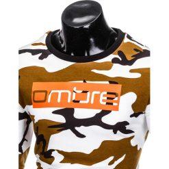 BLUZA MĘSKA BEZ KAPTURA Z NADRUKIEM B798 - BIAŁY/MORO. Białe bluzy męskie rozpinane Ombre Clothing, m, moro, bez kaptura. Za 79,00 zł.