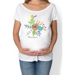 Koszulka damska, ciążowa. kwiaty i ptaki. Niebieskie bluzki ciążowe marki bonprix, z materiału, z dekoltem w serek. Za 89,00 zł.