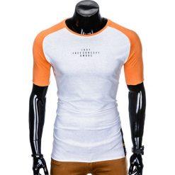 T-SHIRT MĘSKI Z NADRUKIEM S926 - BIAŁY/POMARAŃCZOWY. Czarne t-shirty męskie z nadrukiem marki Ombre Clothing, m, z bawełny, z kapturem. Za 29,00 zł.