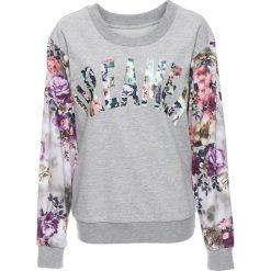 Bluza z kwiatowym nadrukiem bonprix jasnoszary melanż z nadrukiem. Szare bluzy z nadrukiem damskie bonprix. Za 59,99 zł.