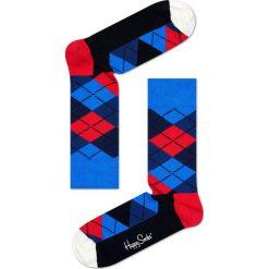 Happy Socks - Skarpety Argyle. Niebieskie skarpetki męskie Happy Socks, z bawełny. W wyprzedaży za 27,90 zł.