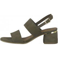 Tamaris Sandały Damskie Desie 38 Khaki. Brązowe sandały damskie marki Tamaris, ze skóry, na wysokim obcasie, na obcasie. W wyprzedaży za 189,00 zł.