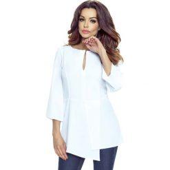 Biała Nowoczesna Bluzka z Szerokim Rękawem 3/4. Białe bluzki asymetryczne Molly.pl, l, z jeansu, z długim rękawem. W wyprzedaży za 68,94 zł.