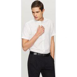 Koszule męskie na spinki: Bawełniana koszula z lnem – Biały