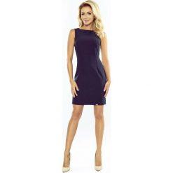 Sukienki: Granatowa Sukienka Dopasowana Mini bez Rękawów
