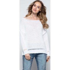 Swetry damskie: Biały Milutki Sweter z Ażurowymi Wstawkami