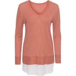 Sweter 2 w 1 bonprix dymny brzoskwiniowy - biały. Czerwone swetry klasyczne damskie bonprix, z materiału. Za 59,99 zł.