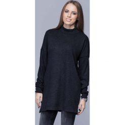 Swetry damskie: Czarny Oversizowy Długi Sweter z Półgolfem