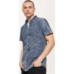 Koszule męskie na spinki: Jeansowa koszula - Niebieski