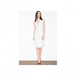 Sukienka M443 Ecru. Szare sukienki marki FIGL, m, z bawełny, eleganckie, z asymetrycznym kołnierzem, z długim rękawem. Za 159,00 zł.