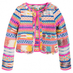 Kurtka w kolorze białym ze wzorem. Niebieskie kurtki dziewczęce marki Pepe Jeans, z bawełny. W wyprzedaży za 169,95 zł.