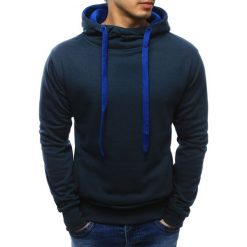 Bluzy męskie: Bluza męska z kapturem granatowa (bx2322)