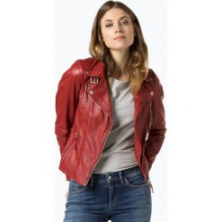 Bomberki damskie: Freaky Nation - Damska kurtka skórzana – Biker Princess, czerwony