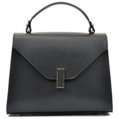 Torebki klasyczne damskie: Skórzana torebka w kolorze czarnym – (S)20 x (W)24 x (G)10 cm