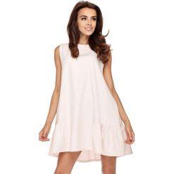 Sukienki: Różowa Wyjściowa Trapezowa Sukienka z Falbanką