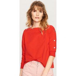 Bluzy damskie: Bluza z rękawami 3/4 – Czerwony