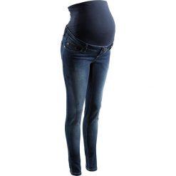 Dżinsy ciążowe SKINNY bonprix ciemny denim. Niebieskie rurki damskie bonprix, w paski, z denimu. Za 139,99 zł.