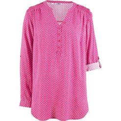 Odzież damska: Tunika, długi rękaw bonprix ciemnoróżowy wzorzysty