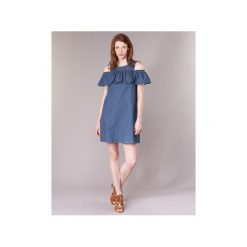 Sukienki krótkie Vero Moda  VMSAMBA. Niebieskie sukienki mini marki Vero Moda, s, z krótkim rękawem. Za 103,20 zł.