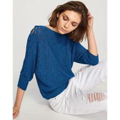 Kardigany damskie: Sweter z rękawami 3/4 - Granatowy