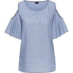 """Bluzka z odkrytymi ramionami bonprix niebieski """"stone"""". Niebieskie bluzki asymetryczne bonprix. Za 49,99 zł."""