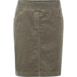 Spódnica sztruksowa ze stretchem i karczkiem bonprix ciemnooliwkowy. Brązowe spódniczki marki DOMYOS, xs, z bawełny. Za 99,99 zł.