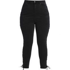New Look Curves LACE UP SIDE  Jeans Skinny Fit black. Czarne rurki damskie New Look Curves. W wyprzedaży za 146,30 zł.