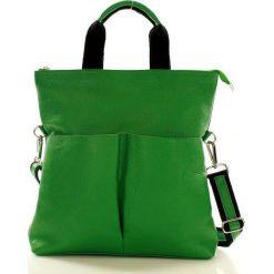 Torebki klasyczne damskie: Nowoczesna torebka skórzana zielona ANGIE