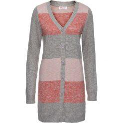 Długi sweter rozpinany bonprix szaro-jasnoróżowy melanż. Szare kardigany damskie marki bonprix, z dzianiny. Za 79,99 zł.