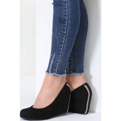 Buty ślubne damskie: Czarne Koturny Plethora