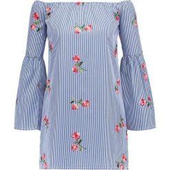 Sukienki: Missguided PINSTRIPE BARDOT FLORAL EMBROIDERED DRESS  Sukienka letnia blue
