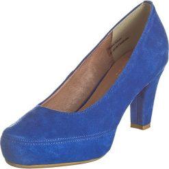 Buty ślubne damskie: Skórzane czółenka w kolorze niebieskim