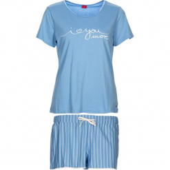 """Piżama """"Soft Dreams"""" w kolorze błękitnym. Białe piżamy damskie marki LASCANA, w koronkowe wzory, z koronki. W wyprzedaży za 81,95 zł."""