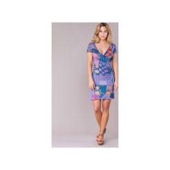 Sukienki krótkie Desigual  OEFLAO. Niebieskie sukienki mini Desigual, m, z krótkim rękawem. Za 244,30 zł.