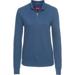 Bluza z zamkiem, długi rękaw bonprix niebieski dżins. Niebieskie bluzy rozpinane damskie bonprix, z długim rękawem, długie. Za 54,99 zł.