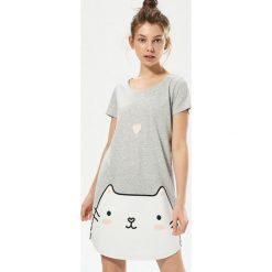 Piżamy damskie: Piżama z kotem – Jasny szar
