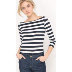Koszulka t-shirt w paski wzorzysta, długi rękaw. Szare bluzki longsleeves marki La Redoute Collections, m, z bawełny, z kapturem. Za 44,06 zł.