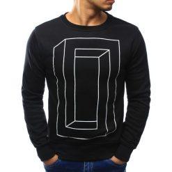 Bluzy męskie: Bluza męska bez kaptura z nadrukiem czarna (bx3054)