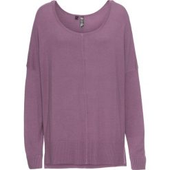 Sweter dzianinowy oversize bonprix ciemny bez. Niebieskie swetry oversize damskie marki bonprix, z nadrukiem. Za 74,99 zł.