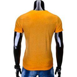 T-SHIRT MĘSKI BEZ NADRUKU S674 - POMARAŃCZOWY. Brązowe t-shirty męskie z nadrukiem Ombre Clothing, m, z bawełny. Za 24,99 zł.