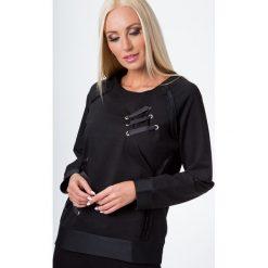 Bluzy rozpinane damskie: Bluza z wiązaniem na przodzie czarna 7005