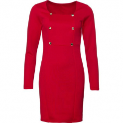 Sukienka biznesowa bonprix czerwony. Szare sukienki z falbanami marki Molly.pl, do pracy, l, biznesowe, z asymetrycznym kołnierzem, midi. Za 119,99 zł.
