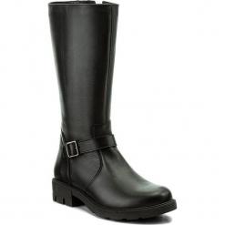 Kozaki WASAK - 0482 Czarny. Czarne buty zimowe damskie marki Wasak, ze skóry, przed kolano, na wysokim obcasie, na obcasie. W wyprzedaży za 299,00 zł.